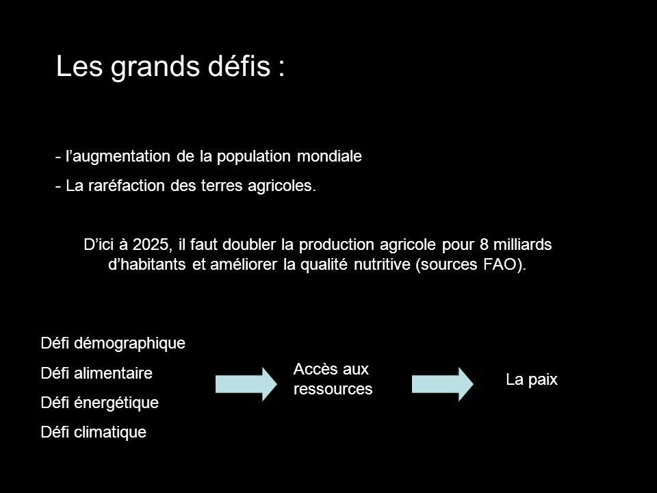 Les grands défis : - l'augmentation de la population mondiale