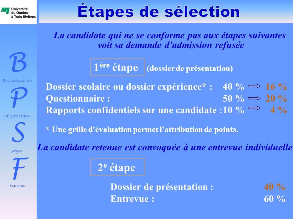 Étapes de sélection 1ère étape (dossier de présentation)