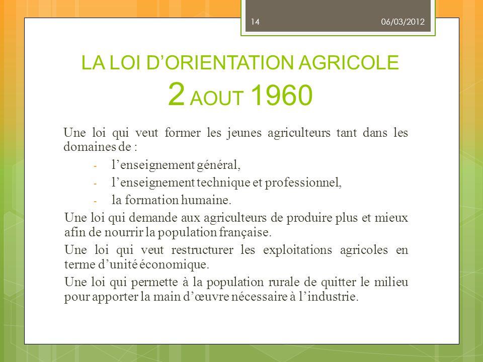 LA LOI D'ORIENTATION AGRICOLE 2 AOUT 1960