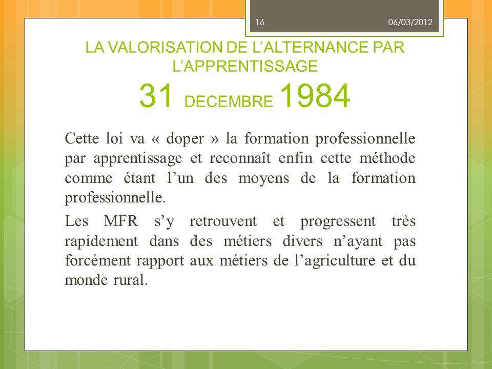 LA VALORISATION DE L'ALTERNANCE PAR L'APPRENTISSAGE 31 DECEMBRE 1984