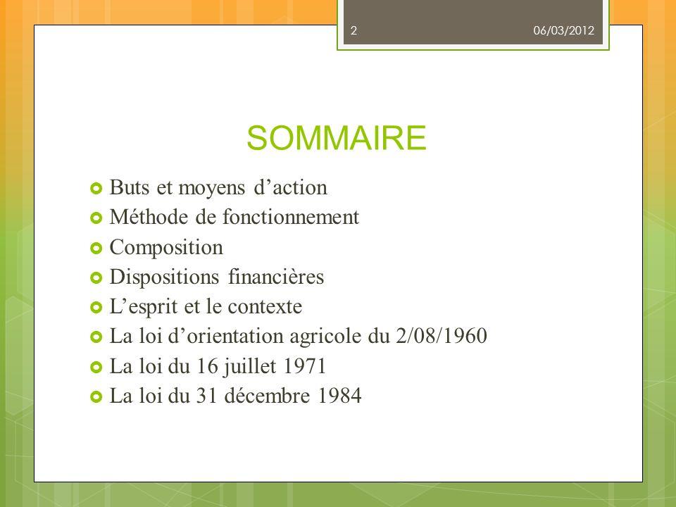 SOMMAIRE Buts et moyens d'action Méthode de fonctionnement Composition