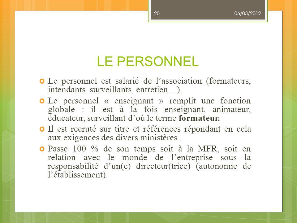 06/03/2012 LE PERSONNEL. Le personnel est salarié de l'association (formateurs, intendants, surveillants, entretien…).