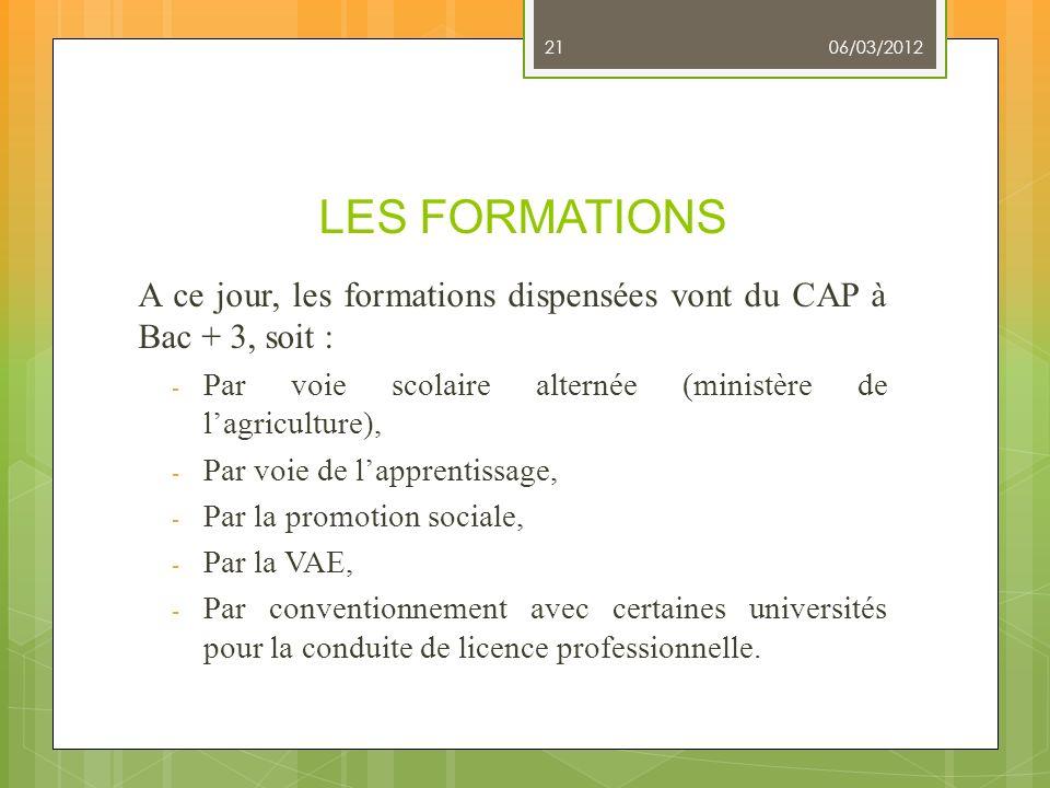 06/03/2012 LES FORMATIONS. A ce jour, les formations dispensées vont du CAP à Bac + 3, soit :