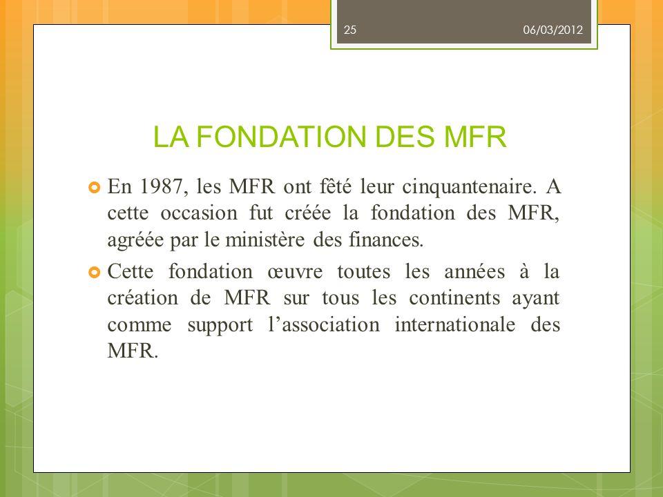 06/03/2012 LA FONDATION DES MFR.