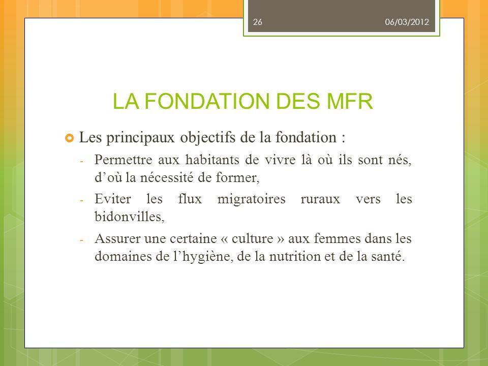LA FONDATION DES MFR Les principaux objectifs de la fondation :