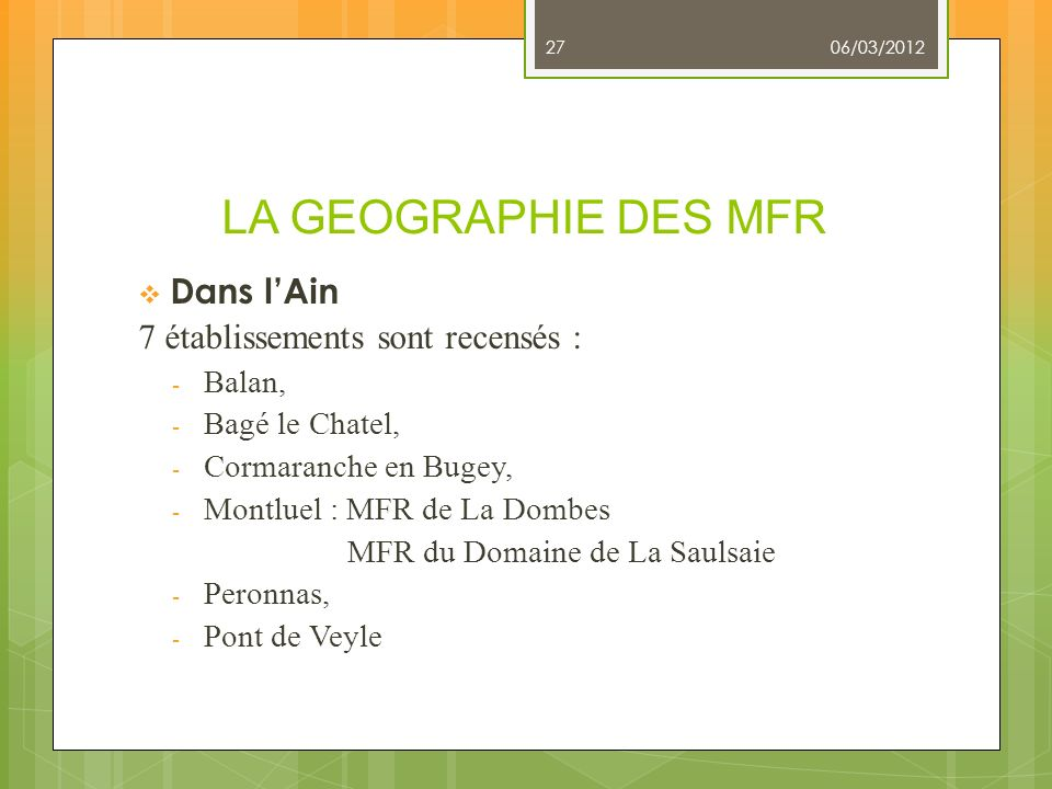 LA GEOGRAPHIE DES MFR Dans l'Ain 7 établissements sont recensés :