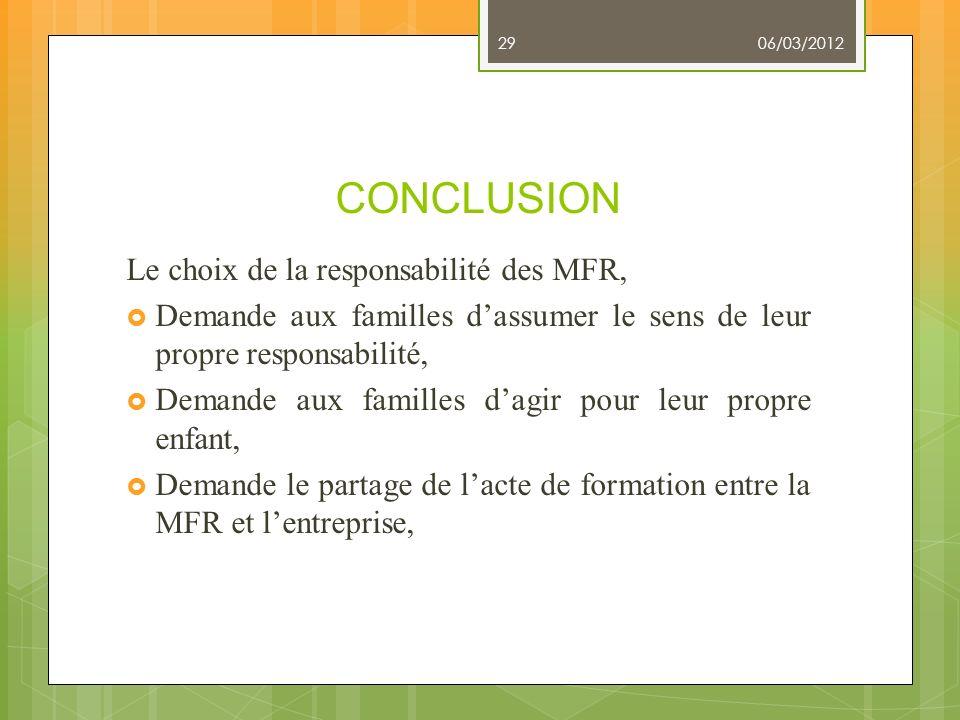 CONCLUSION Le choix de la responsabilité des MFR,