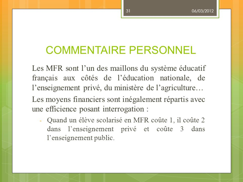 COMMENTAIRE PERSONNEL