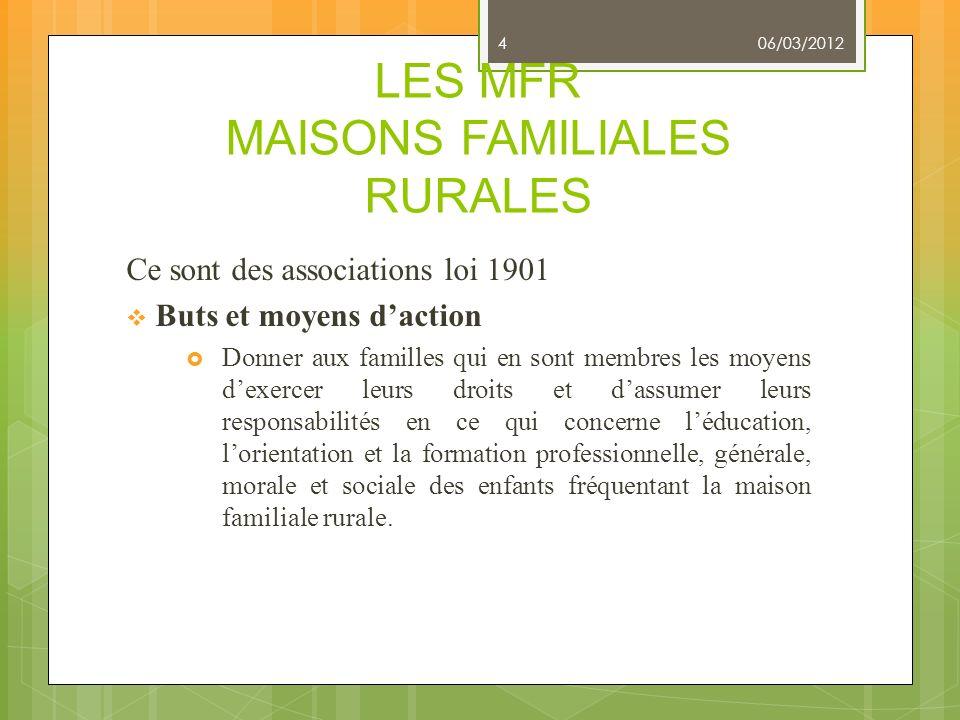 LES MFR MAISONS FAMILIALES RURALES
