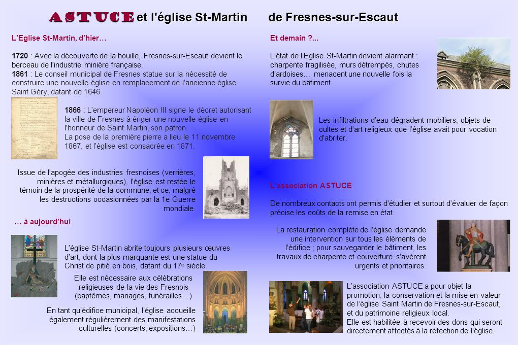 ASTUCE et l église St-Martin de Fresnes-sur-Escaut