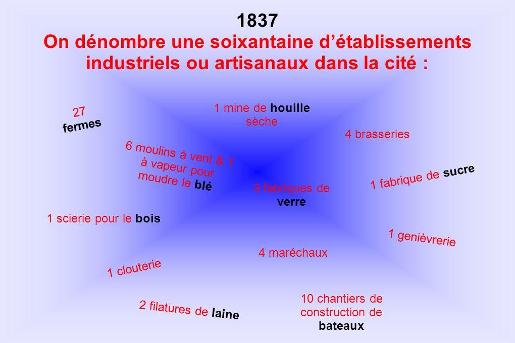1837 On dénombre une soixantaine d'établissements industriels ou artisanaux dans la cité : 1 mine de houille sèche.