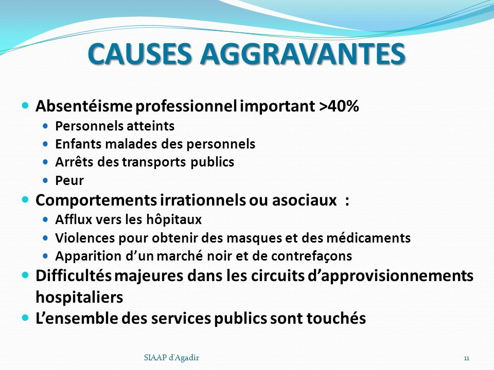CAUSES AGGRAVANTES Absentéisme professionnel important >40%