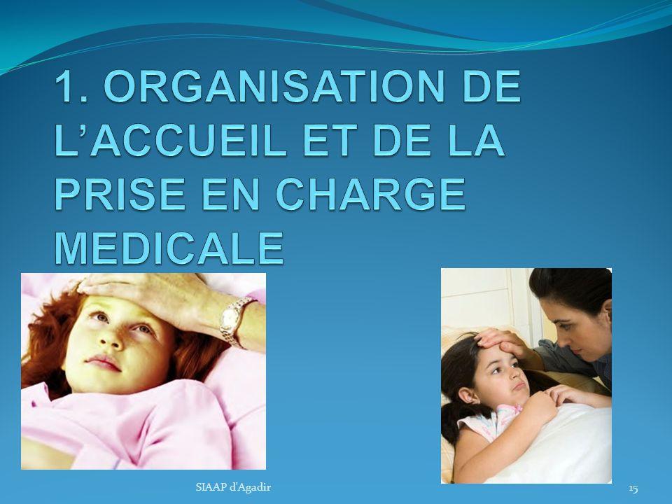 1. ORGANISATION DE L'ACCUEIL ET DE LA PRISE EN CHARGE MEDICALE