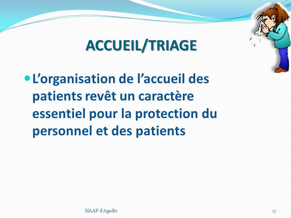 ACCUEIL/TRIAGE L'organisation de l'accueil des patients revêt un caractère essentiel pour la protection du personnel et des patients.