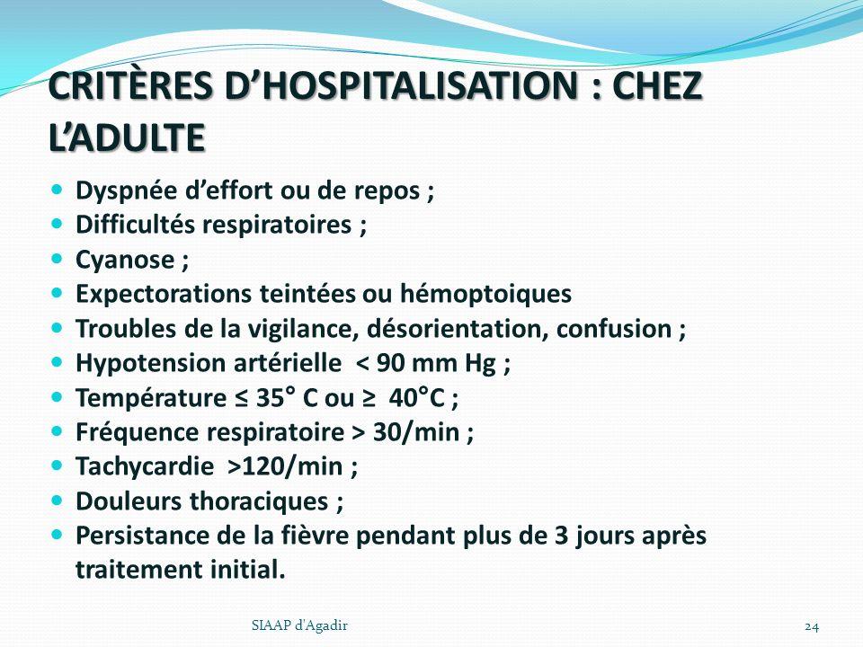 CRITÈRES D'HOSPITALISATION : CHEZ L'ADULTE