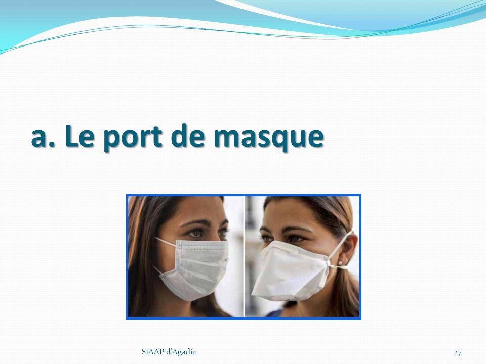 a. Le port de masque SIAAP d Agadir SIAAP d Agadir