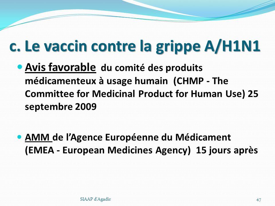 c. Le vaccin contre la grippe A/H1N1