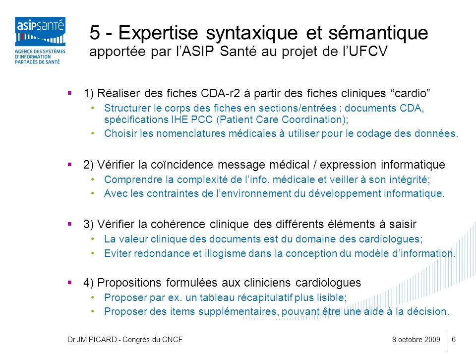 5 - Expertise syntaxique et sémantique apportée par l'ASIP Santé au projet de l'UFCV