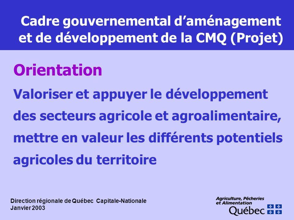 Cadre gouvernemental d'aménagement et de développement de la CMQ (Projet)