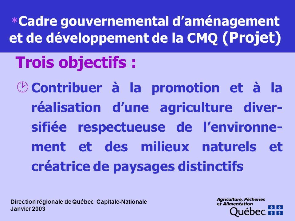 *Cadre gouvernemental d'aménagement et de développement de la CMQ (Projet)
