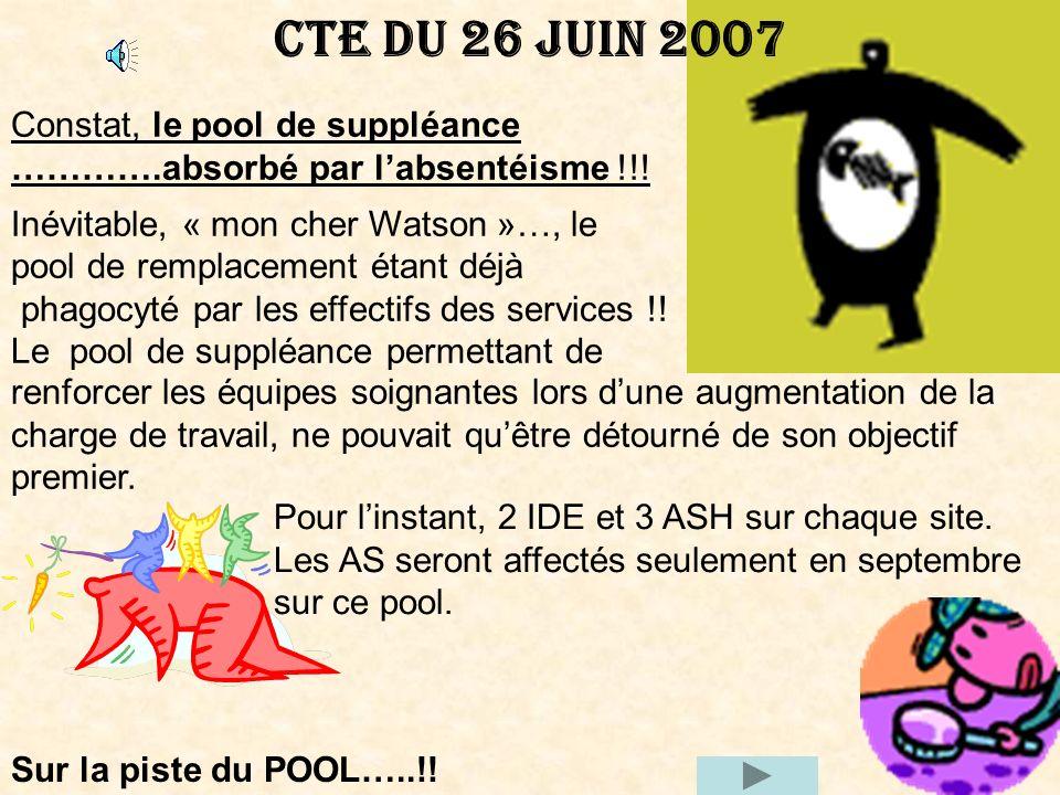 CTE DU 26 JUIN 2007 Constat, le pool de suppléance