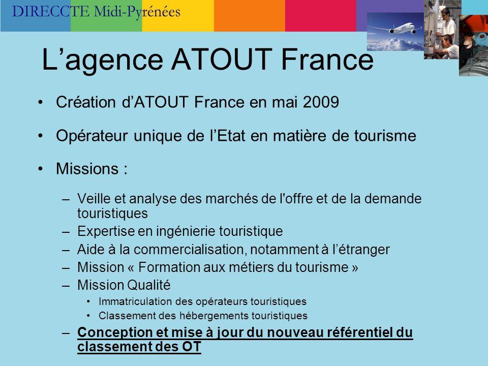 L'agence ATOUT France Création d'ATOUT France en mai 2009