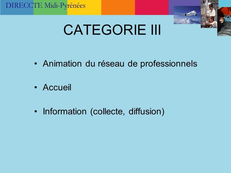 CATEGORIE III Animation du réseau de professionnels Accueil