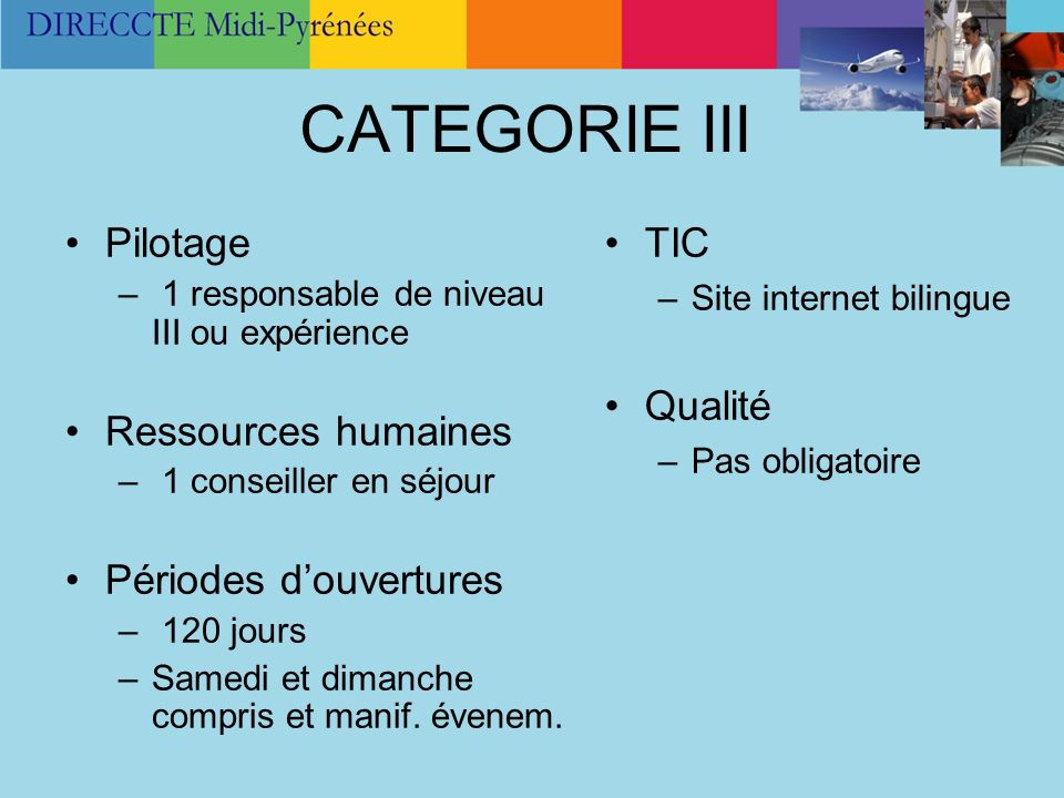 CATEGORIE III Pilotage Ressources humaines Périodes d'ouvertures TIC