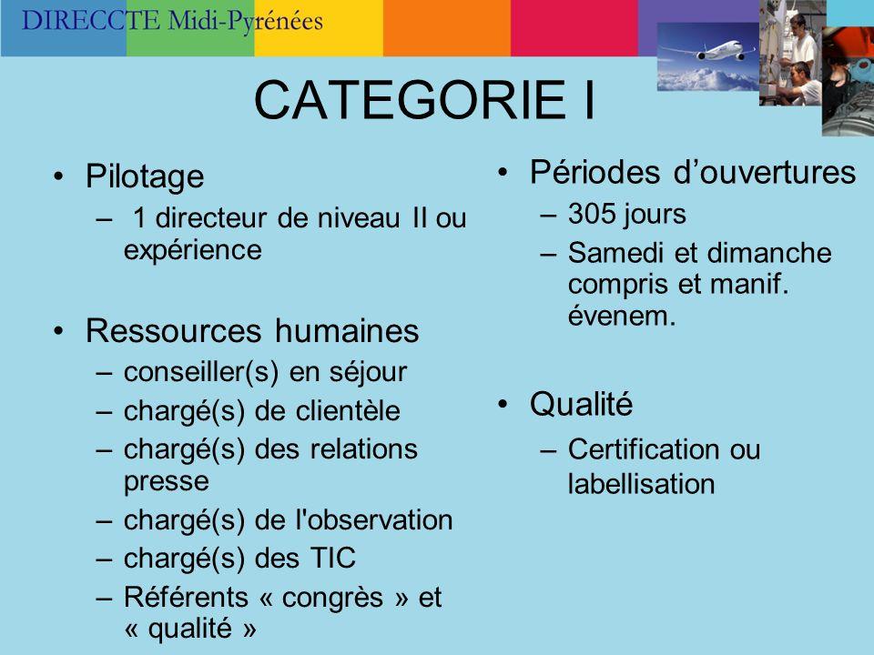 CATEGORIE I Périodes d'ouvertures Pilotage Ressources humaines Qualité