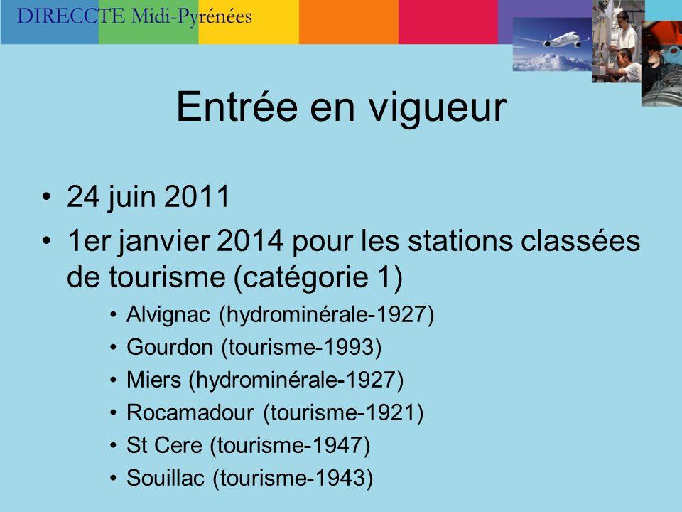 Entrée en vigueur 24 juin 2011. 1er janvier 2014 pour les stations classées de tourisme (catégorie 1)