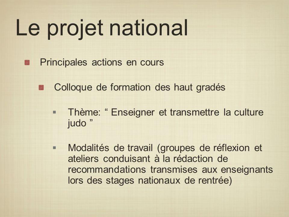 Le projet national Principales actions en cours