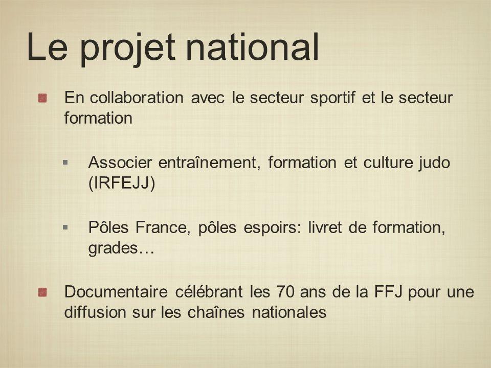 Le projet national En collaboration avec le secteur sportif et le secteur formation. Associer entraînement, formation et culture judo (IRFEJJ)