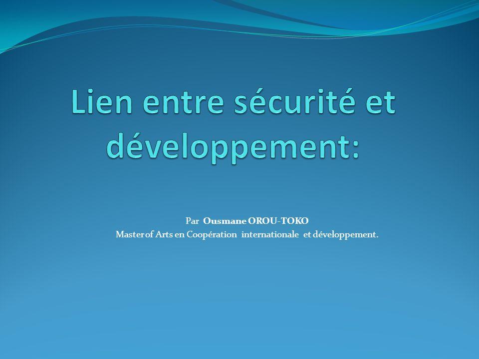 Lien entre sécurité et développement: