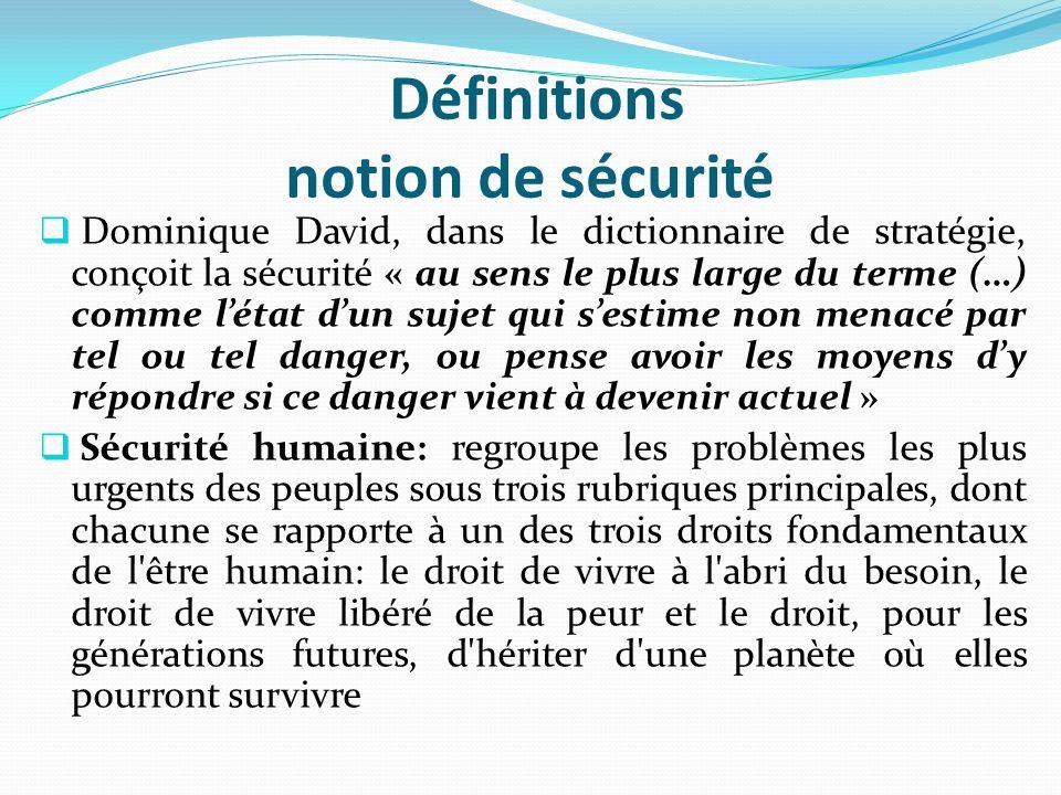 Définitions notion de sécurité