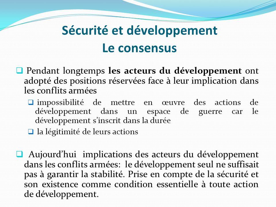 Sécurité et développement Le consensus