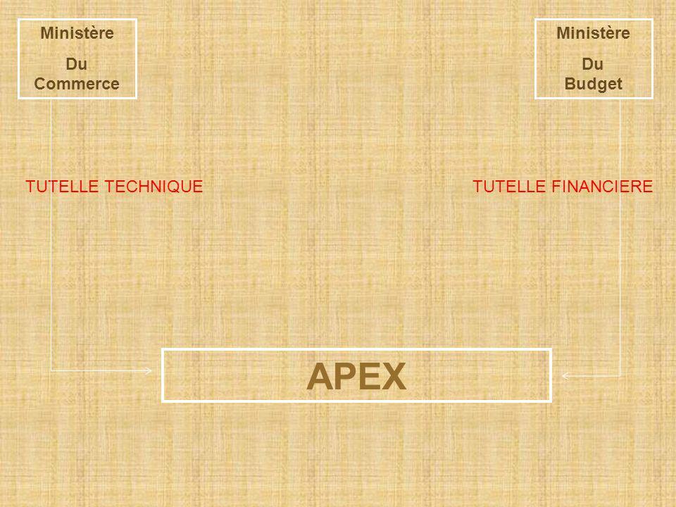 APEX Ministère Du Commerce Ministère Du Budget TUTELLE TECHNIQUE