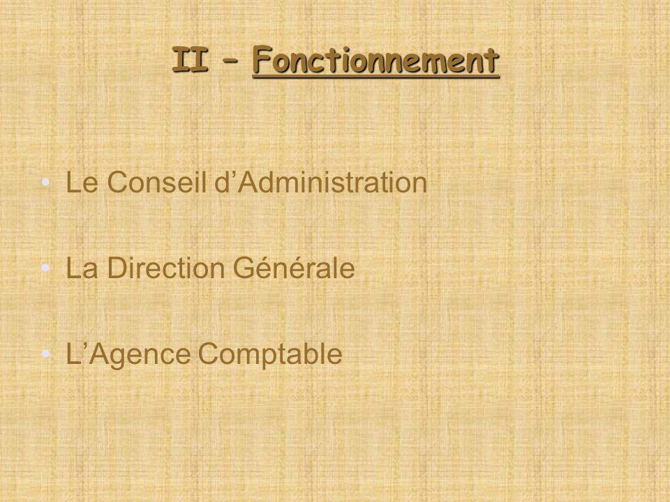 II – Fonctionnement Le Conseil d'Administration La Direction Générale