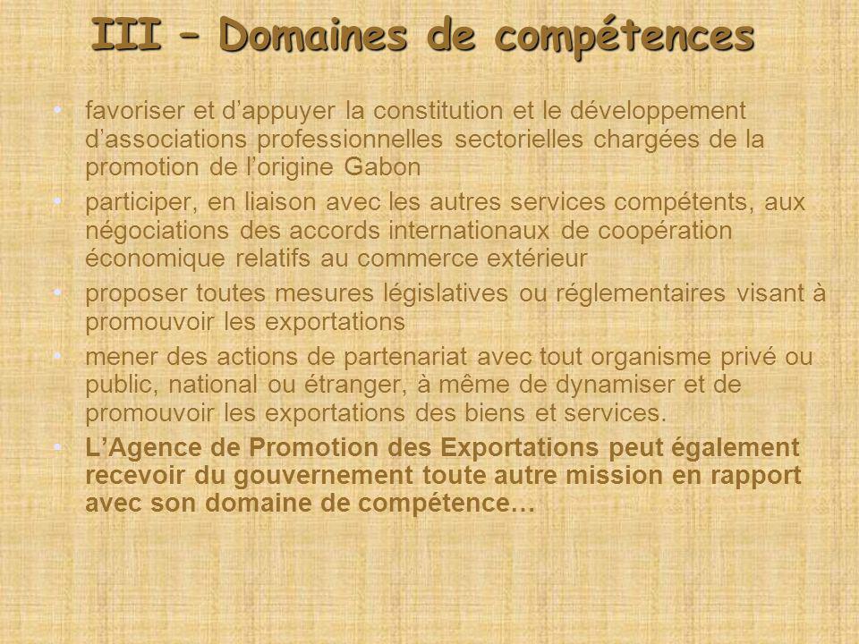 III – Domaines de compétences
