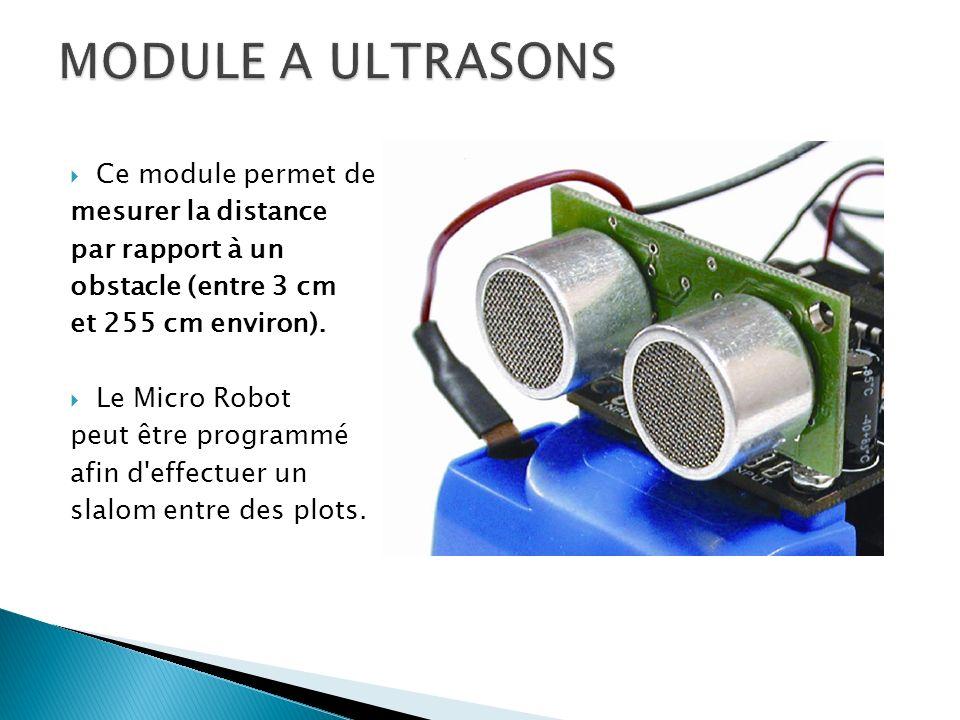 MODULE A ULTRASONS Ce module permet de mesurer la distance