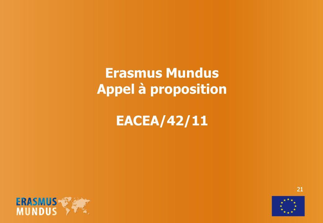 Erasmus Mundus Appel à proposition EACEA/42/11