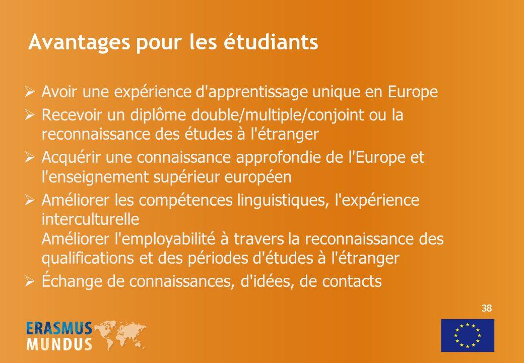 Avantages pour les étudiants