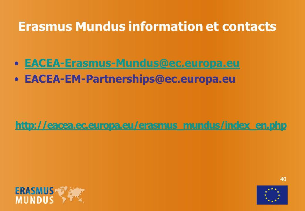 Erasmus Mundus information et contacts