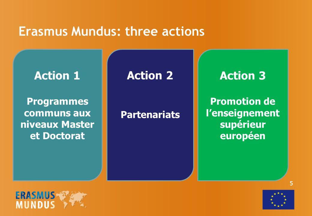 Erasmus Mundus: three actions