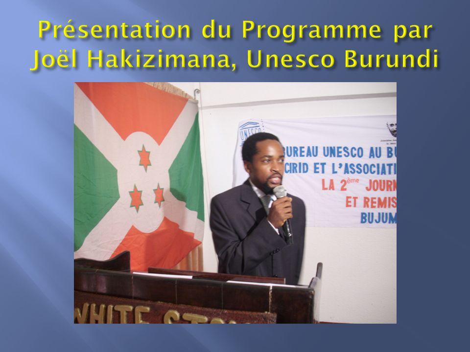 Présentation du Programme par Joël Hakizimana, Unesco Burundi