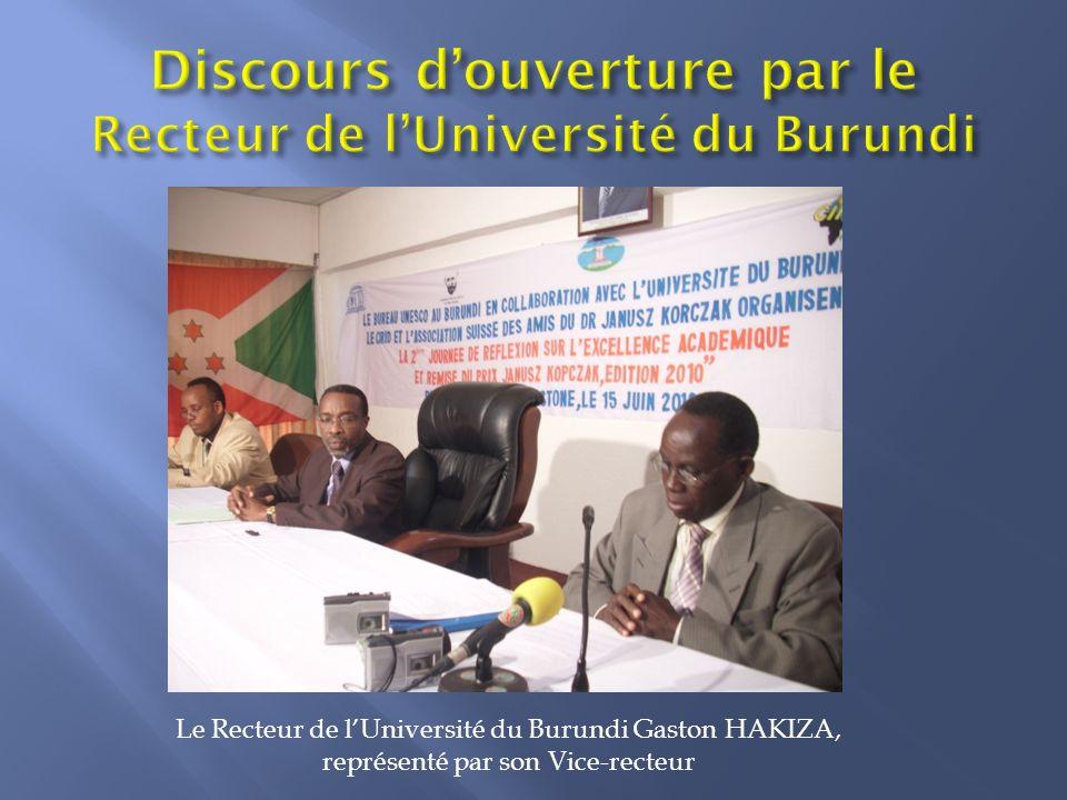 Discours d'ouverture par le Recteur de l'Université du Burundi
