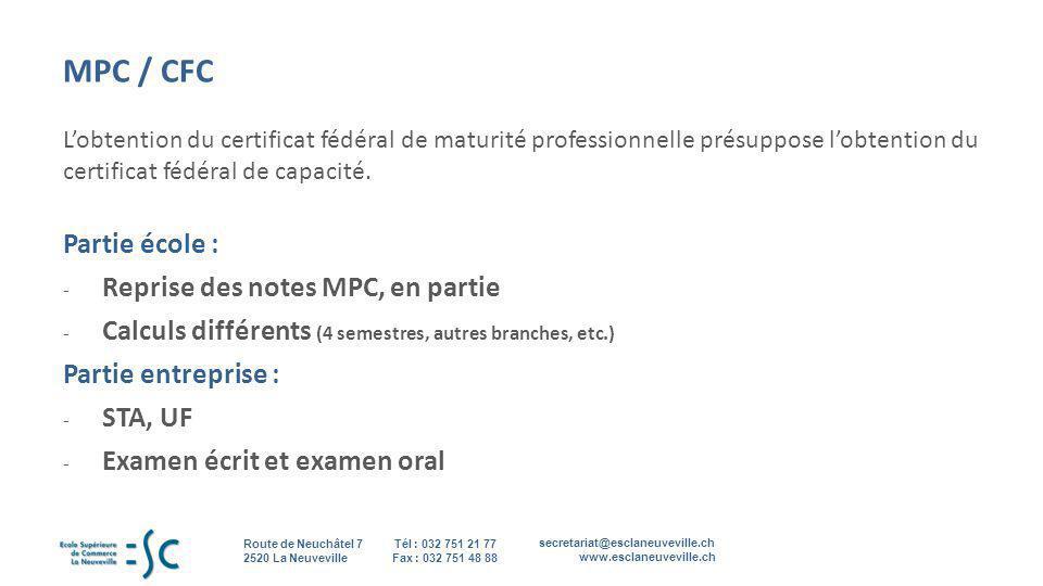 MPC / CFC Partie école : Reprise des notes MPC, en partie