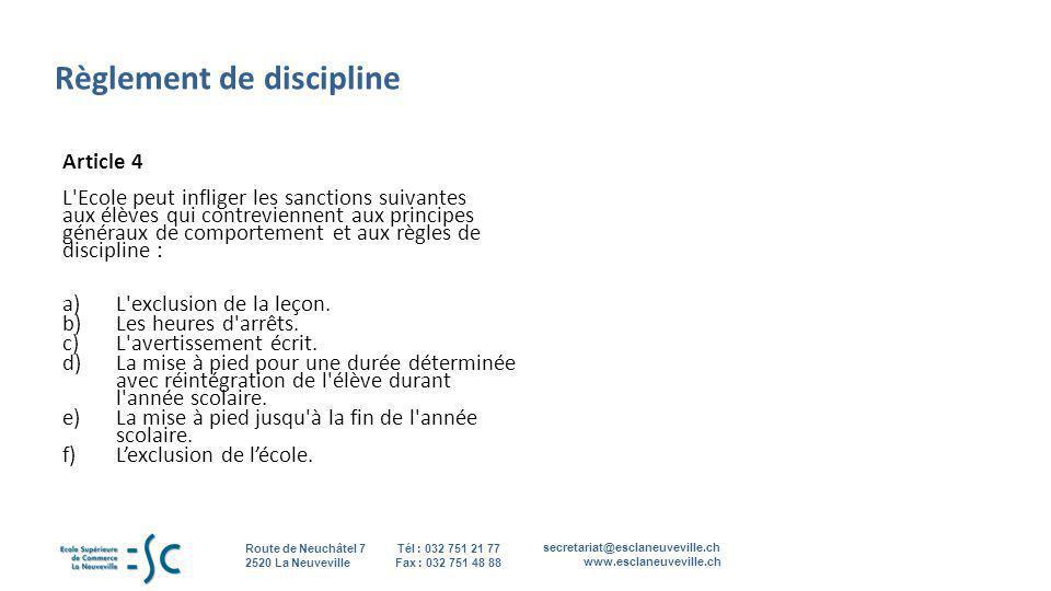 Règlement de discipline