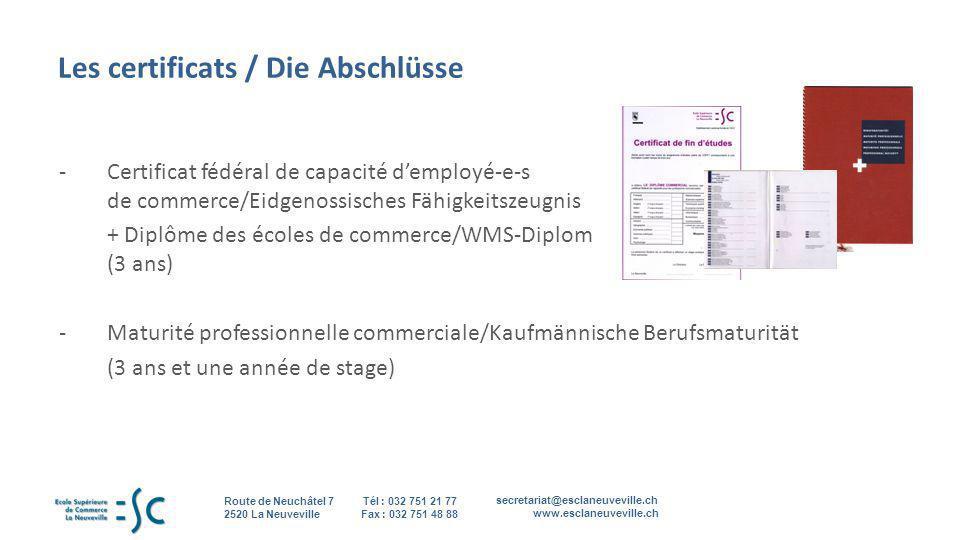 Les certificats / Die Abschlüsse