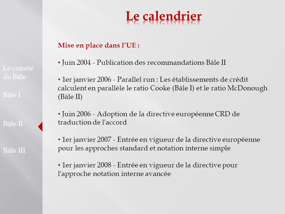 Le calendrier Mise en place dans l'UE :