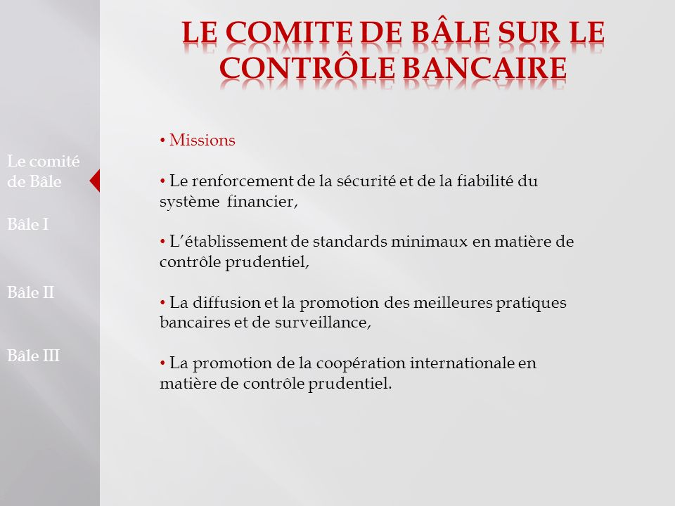 LE COMITE DE BÂLE SUR LE CONTRÔLE BANCAIRE